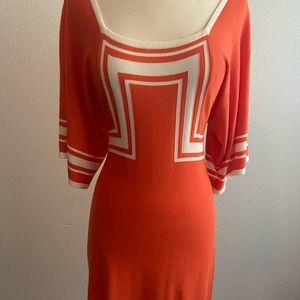 TRINA TURK- Gorgeous Bright Orange and White Dress